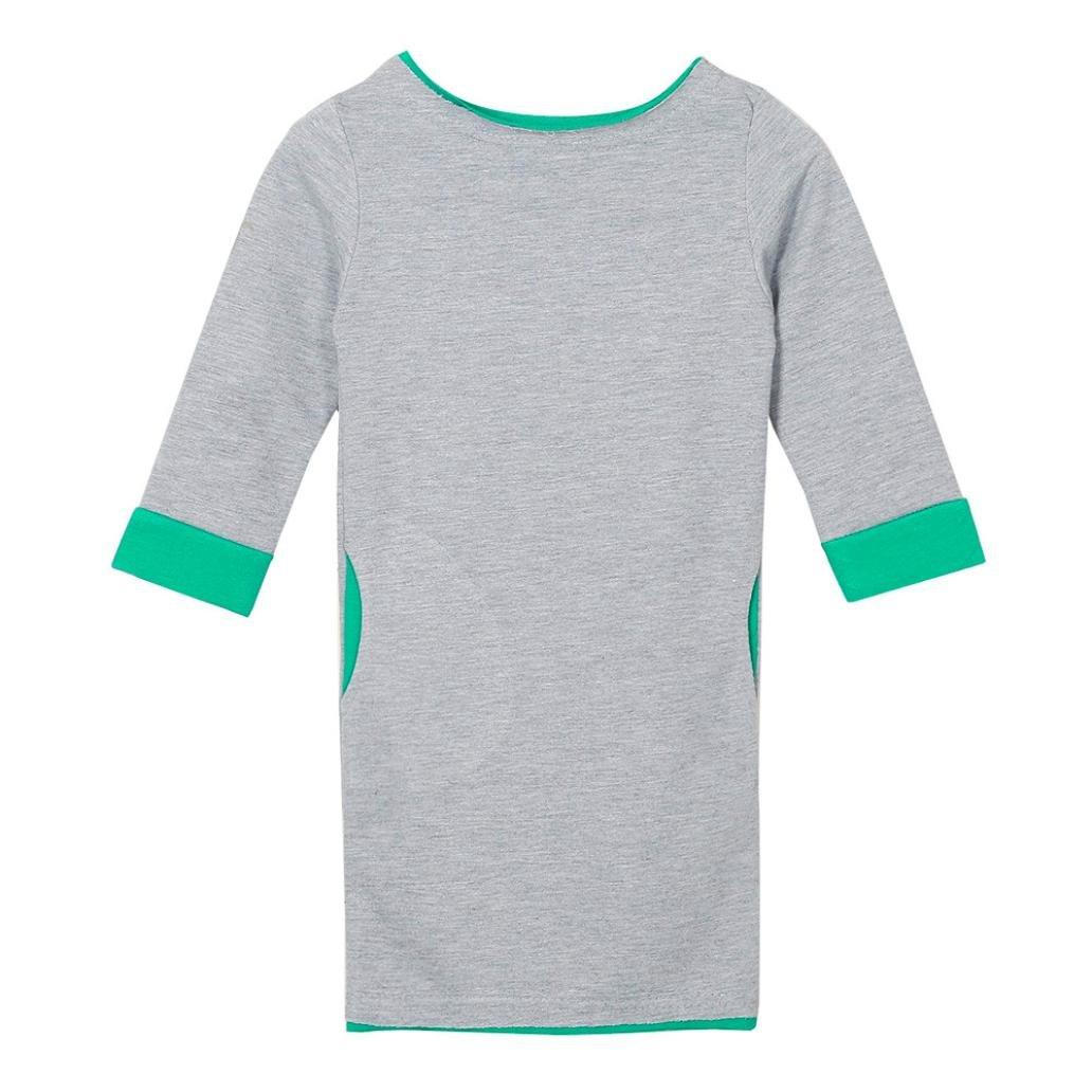 Digood Toddler Newborn Baby Girls Boys Children T-Shirt Long Sleeve Outfit O-Neck Pocket Dress Green