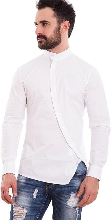 Toocool – Camisa Hombre Slim Fit coreana botones transversales oblicuosajustada Nueva 150233: Amazon.es: Ropa y accesorios