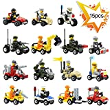 Loengt Building Vehicles with Minifigures, Lego-Compatible, Birthday Favors for Kids, Party Supplies Toy Gift(Set of 16)