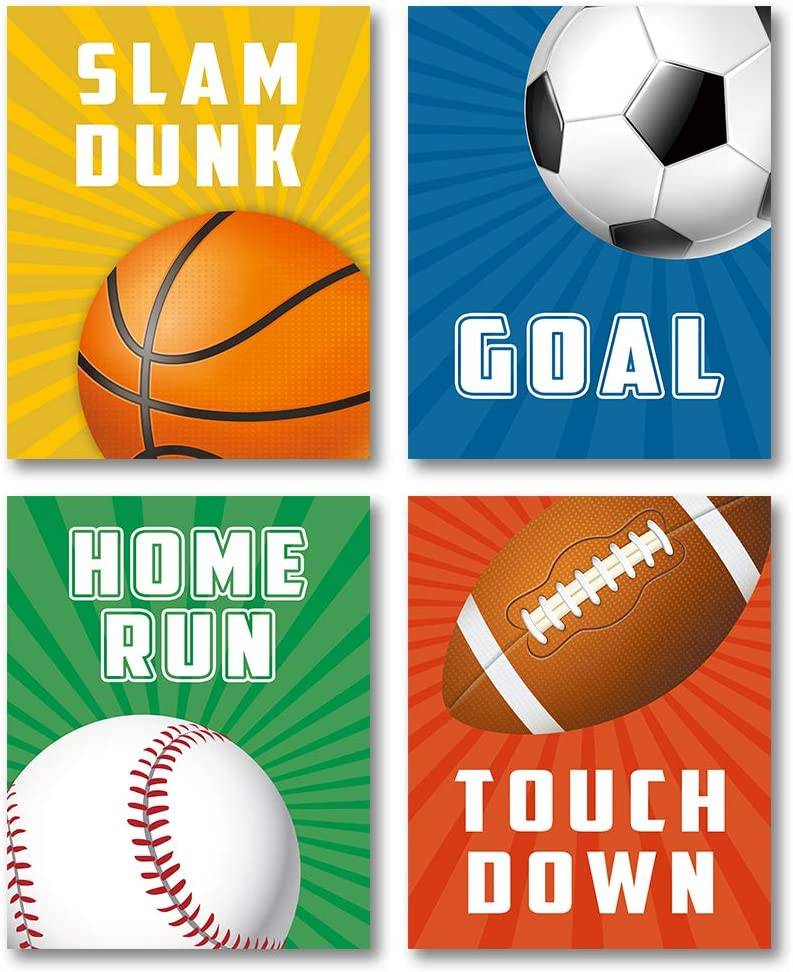 """Ball Games Theme Art Prints, Set of 4 (8""""X10""""), Sporting Terms-Slam Dunk,Goal,Home Run,Touch Down Canvas Poster, Colorful Basketball,Football,Baseball,Soccer Painting for Stadium Decor, No Frame"""
