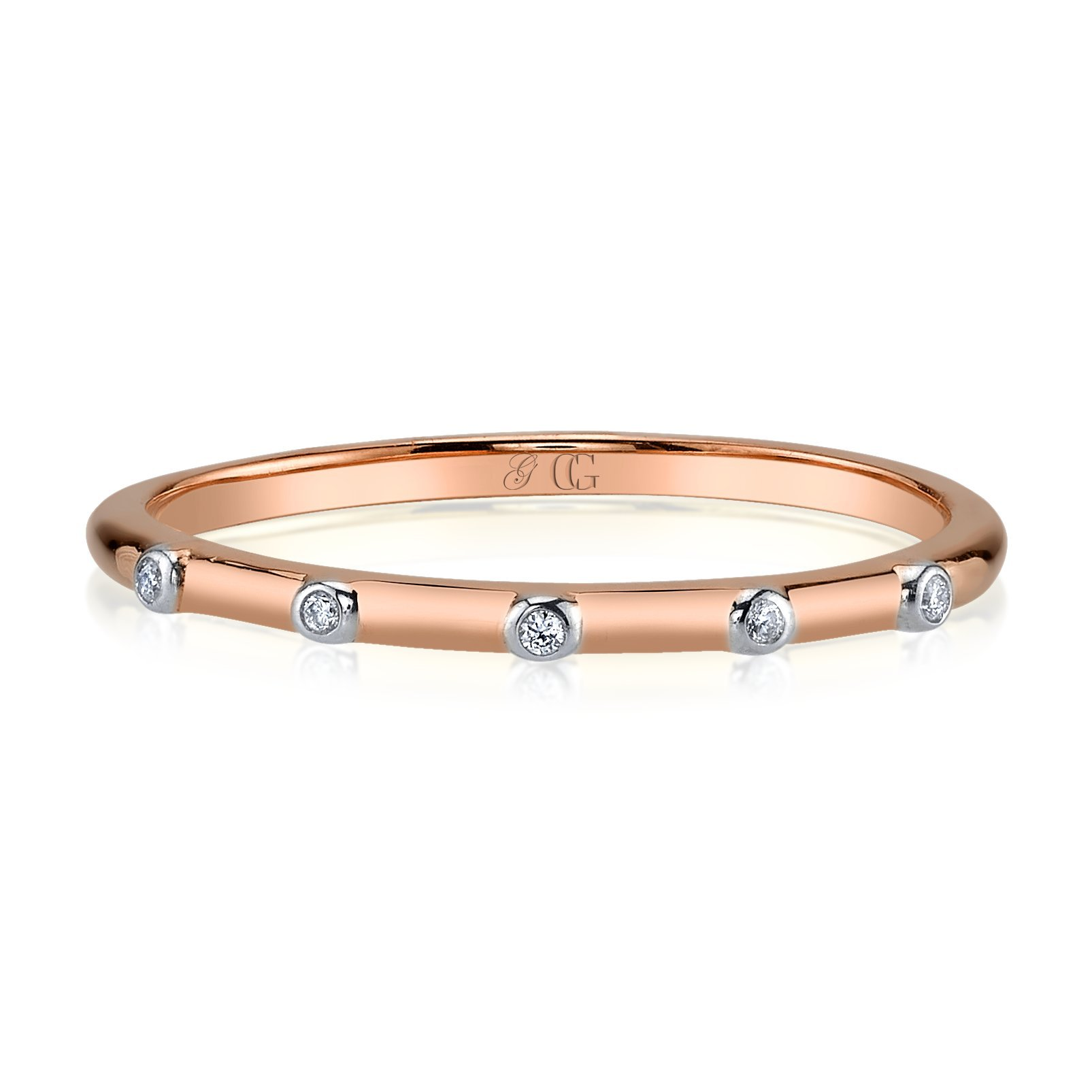 CHARLIZE GADBOIS Sterling Silver Diamond Ring, Rose Gold Plated (0.025 cttw, I1-I2 Clarity), Size 8 by Gadbois Jewelry (Image #2)