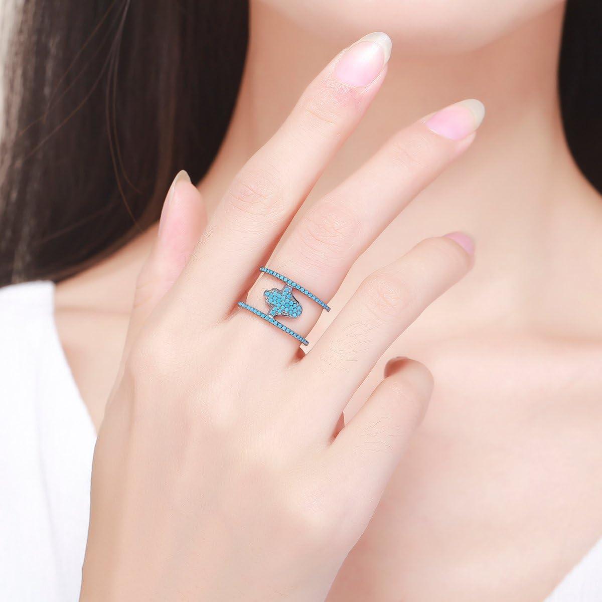 Everbling Hamsa Hand 925 Sterling Silver Ring Blue CZ