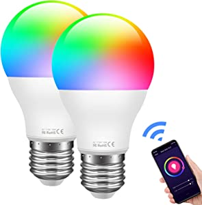 Harmonic Smart Light Bulb WiFi Multicolor LED Light Bulb Compatible with Alexa, Google Home Assistant, A19 E26 RGB Color Changing Bulb, 8W (60w Equivalent), No Hub Required (2 Pack)
