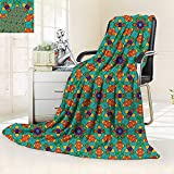 vanfan All-Season Super Soft Blanket India Ethnic Design Lovers Floral Print Fern Green Marigold Navy Blue,Silky Soft,Anti-Static,2 Ply Thick Blanket. (80''x60'')