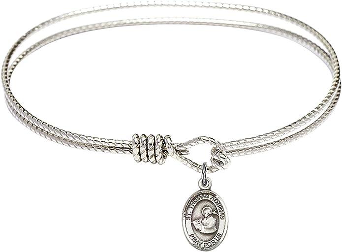 Thomas Aquinas Charm On A 7 Inch Oval Eye Hook Bangle Bracelet St