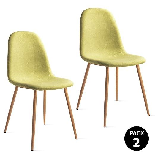 Mc Haus Verde Pack 2 sillas ELVA Color diseño nordico para Comedor 46x43x86cm, Telas