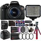 Canon EOS Rebel T6i 24.2MP DSLR Camera + 18-55mm + 58mm Telephoto Lens + Filter Kit + Macro kit + Two 32GB Memory Card + Holder + Reader + Led Video Light + Case + Flexible Tripod + 3pc Cleaning Kit