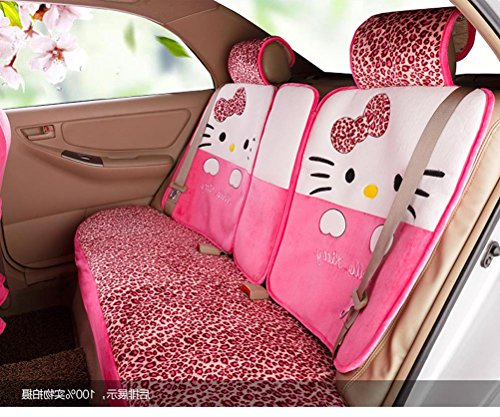 1 set classical cartoon peach leopard fashion universal car front and back seat covers car waist pillows neck pillows hand brake cover by weiwei26 (Image #4)