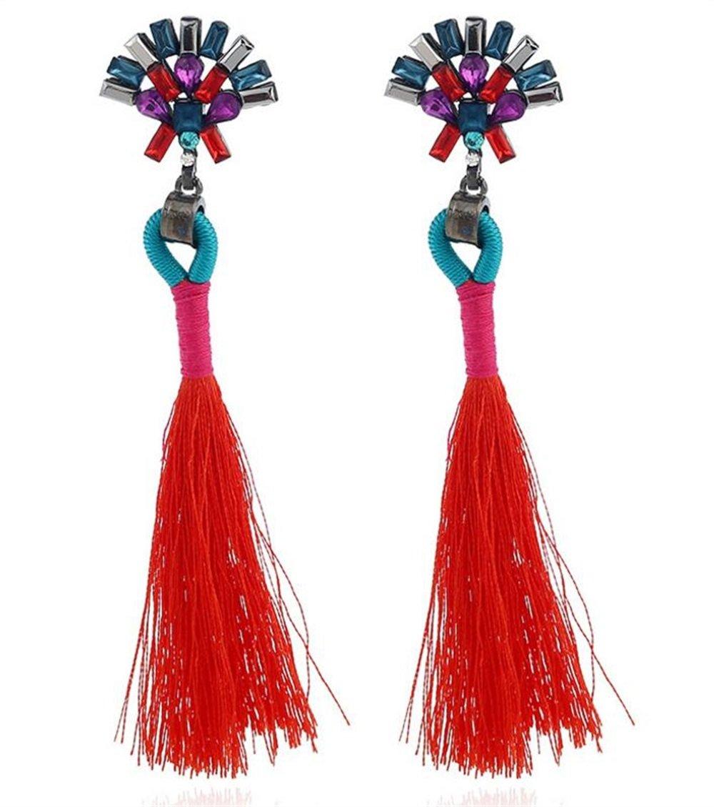 VEA-DE Boucles d'oreilles Femme Boucles d'oreilles Vintage Style Bohème Fan Forme Boucles d'oreilles Tassel Dangle Boucles d'oreilles (Rouge) la Fille de Dames de Mode