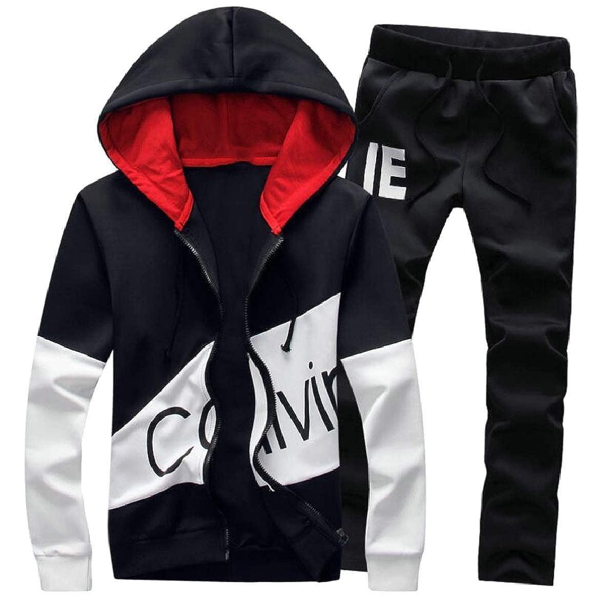 pujingge Mens Tracksuit Set Full Zip Print Hooded Sweatshirt Tops Pants Sweat Suit
