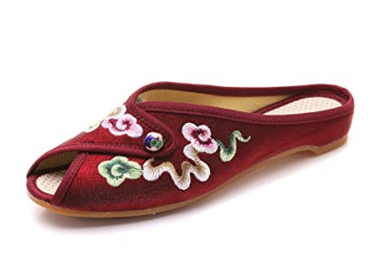 KPHY - Zapatillas para suelo con bordado de imitación de seda china, estilo chino,