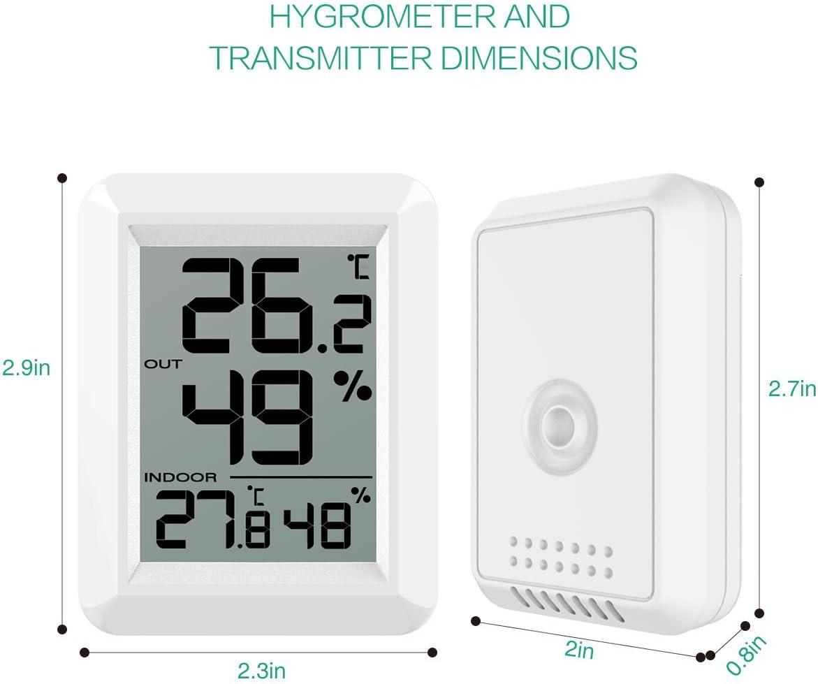 Drahtloses Temperatur Feuchtigkeit Monitor mit Sender B/üro ORIA Innen Au/ßen Thermometer Hygrometer Digitaler Thermo-Hygrometer LCD Bildschirm H/ölzernes Gelb Ideal f/ür Zuhause ℃//℉ Schalten