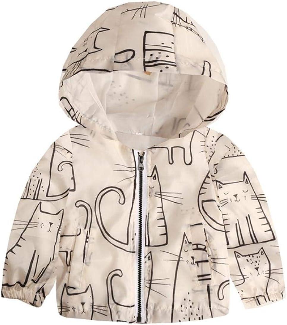 Vicbovo Kids Toddler Boy Girl Cartoon Zip-up Hooded Jackets Coat Waterproof Windbreaker Outerwear