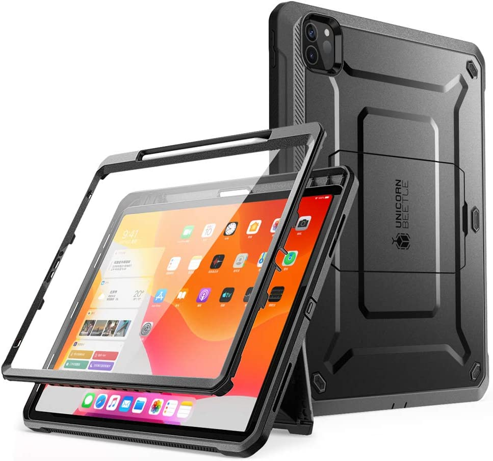 SUPCASE UB Pro Series Case for iPad Pro 12.9 inch 2020 Release, Support Apple Pencil Charging with Built-in Screen Protector Full-Body Rugged Kickstand Protective Case (Black)