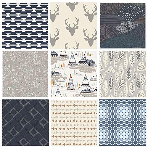 Hello Bear Quilting Bundle | Native American Fabrics | Navy Gray Nursery Fabrics | Indian Summer | Southwestern Quilt Bundle | 9 Fabrics | Art Gallery Fabrics (Fat - Fabrics Nursery