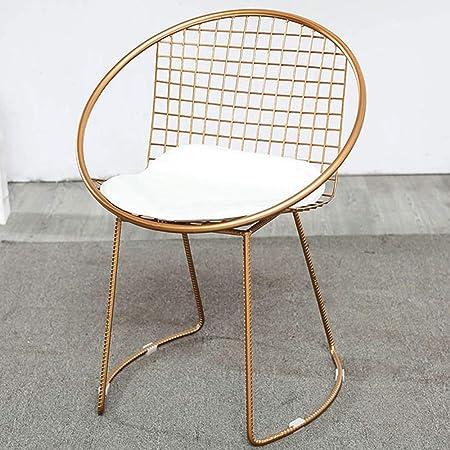 LF-chair Silla nórdica for Silla de Hierro Forjado, Silla reclinable Individual Hueca for Mesa y sillas de jardín y Patio al Aire Libre con combinación al Aire Libre (Color : A): Amazon.es: