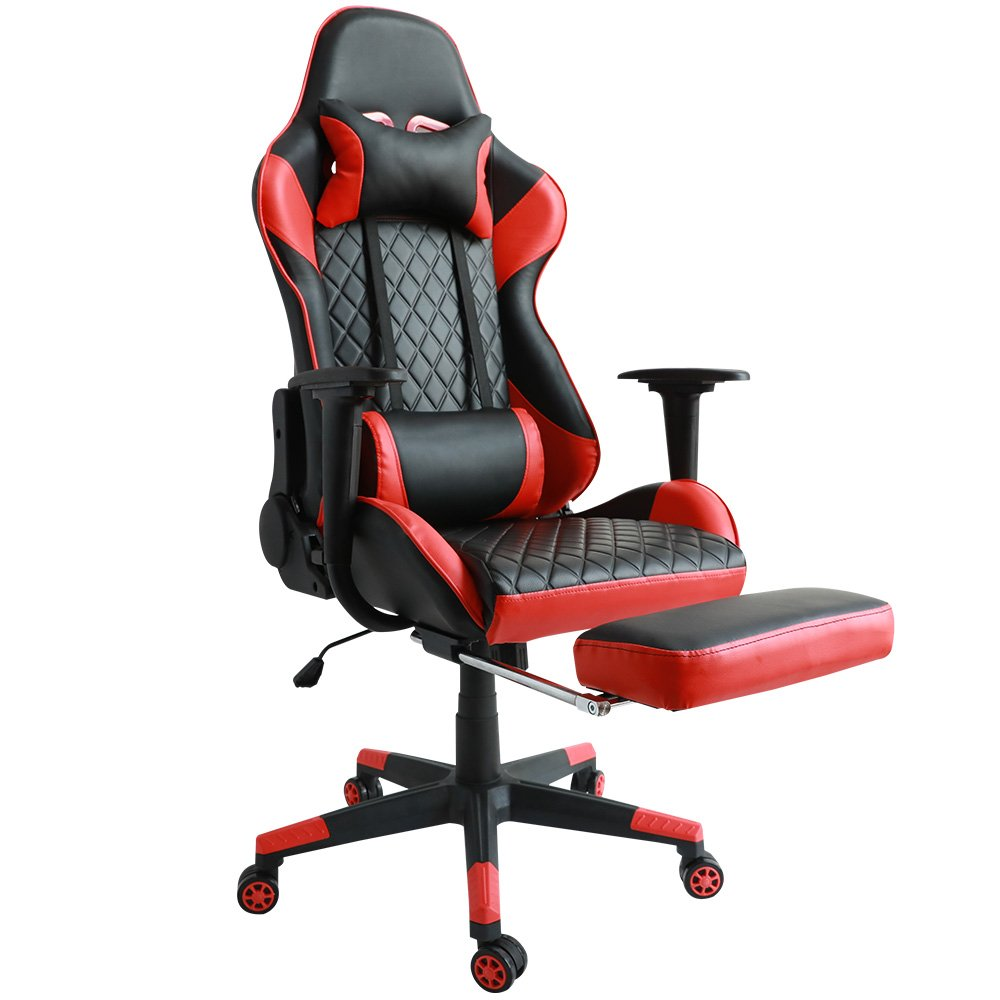 Kinsal Ergonomic High-back Large Size Gaming Chair with Massage Function, Office Desk Chair Swivel Black PC Gaming Chair with Extra Soft Headrest, Lumbar Support and Retractible Footrest (Red)