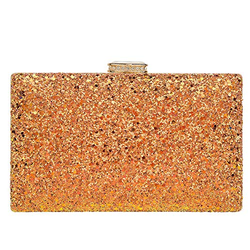 Sparkling Clutch Purse Elegant Glitter Evening Bags Bling Evening Handbag for Dance Wedding Party Prom Bride (Orange)