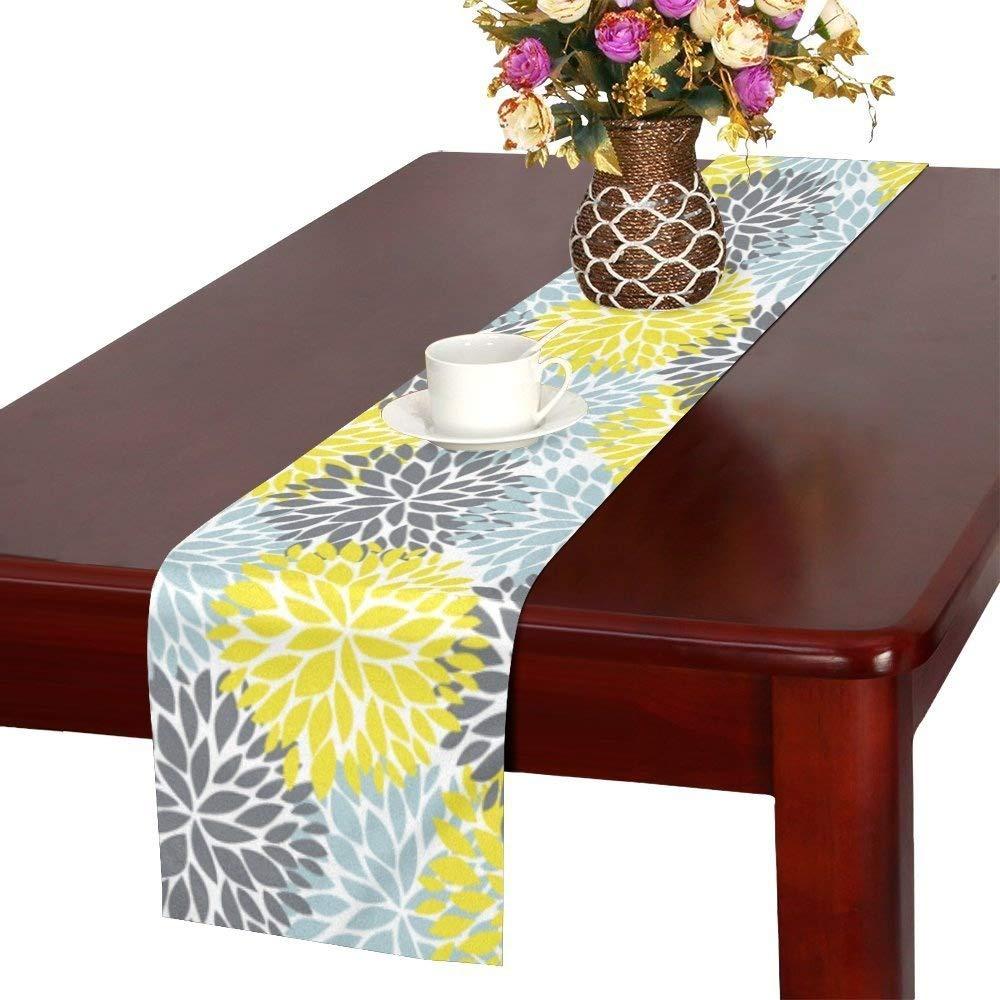 InterestPrint Dahlia Pinnata Flower Yellow Gray Light Blue Table Runner Linen & Cotton Cloth Placemat Home Decor for Wedding Banquet Decoration 16 x 72 Inches