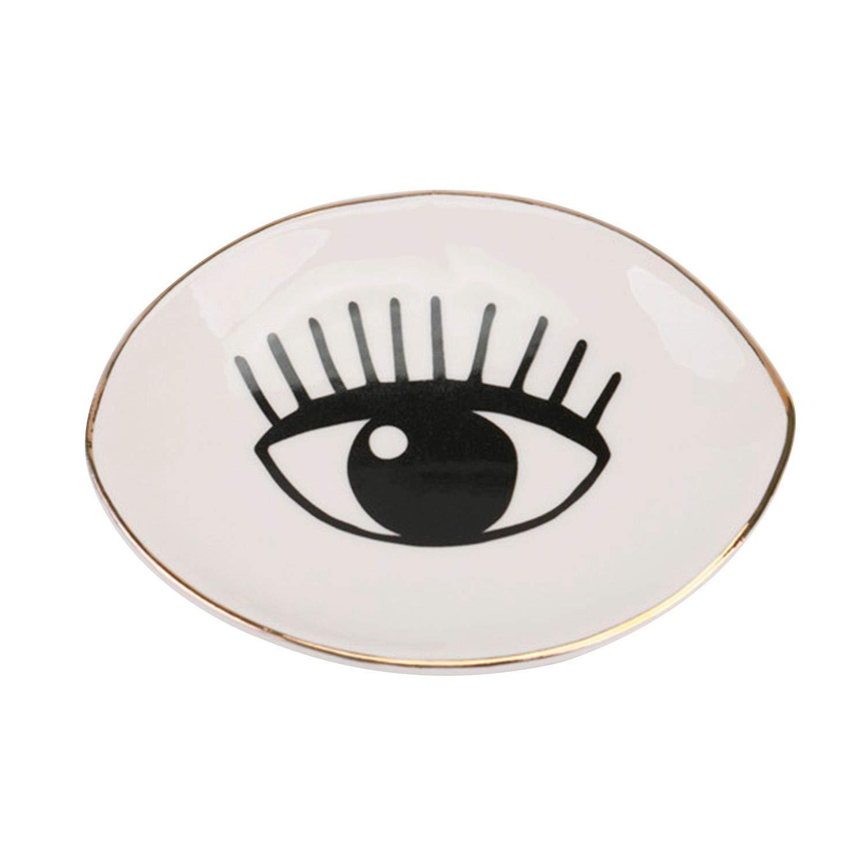 TOOGOO Piccolo splendido piatto quadrato di porcellana ciglia piatto di gioielli in ceramica vassoio decorativo vanita' vassoio gingillo piatto decorazione (A)