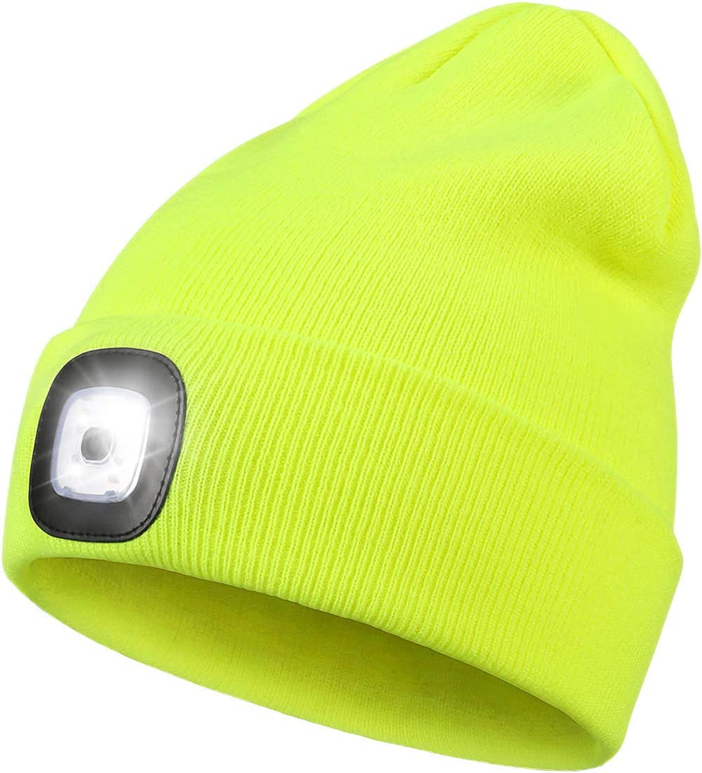 Light Blue Etsfmoa Upgraded LED Lighted Beanie Hat Gifts for Dad Him Gadgets Men and Women Winter Warmer Knit Hats with Light USB Rechargeable Hands Free 4 LED Headlamp Caps