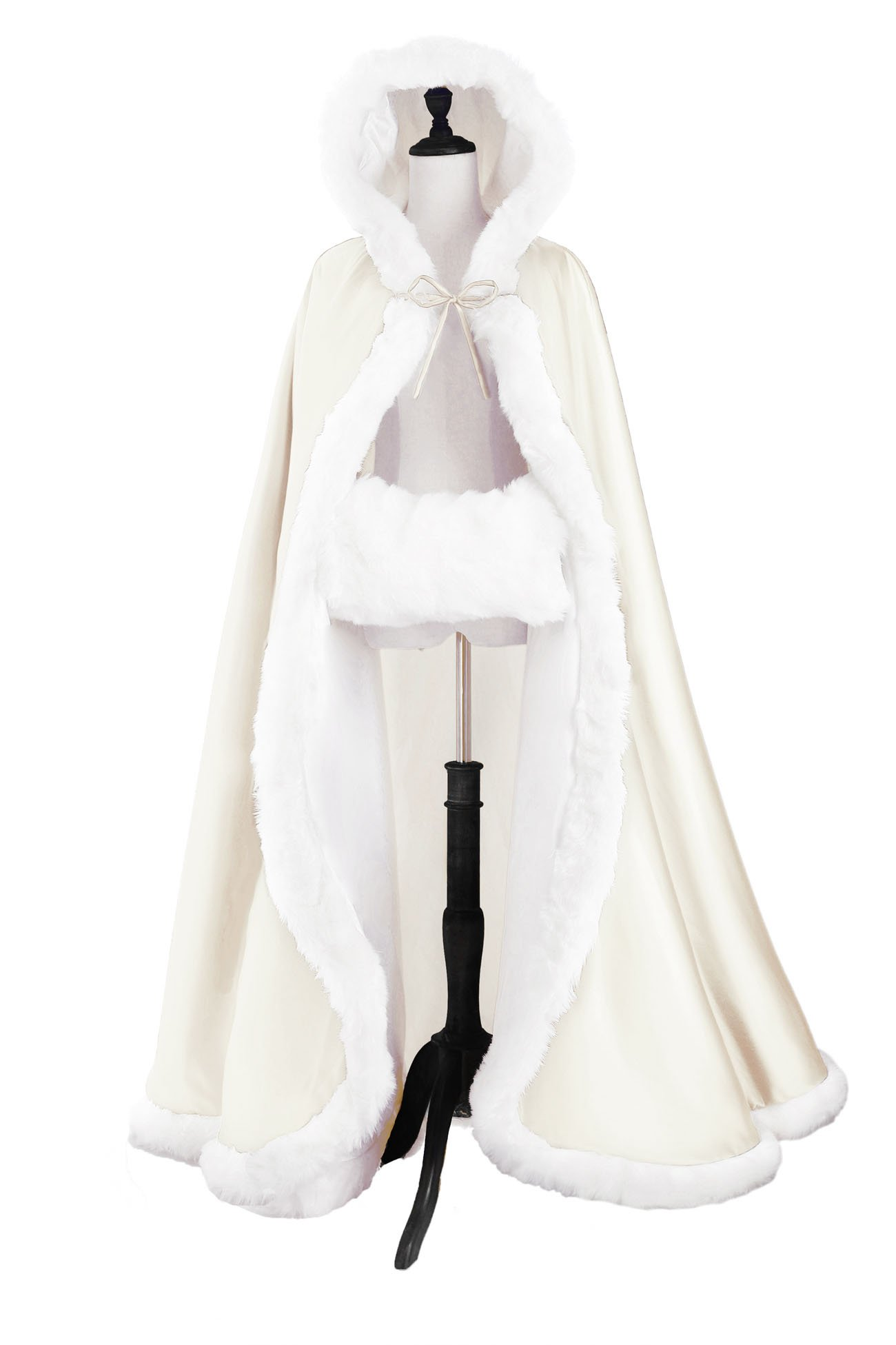 Wedding Cape Hooded Cloak for Bride Winter Reversible with Fur Trim Free Hand Muff Full Length 50 inches Ivory