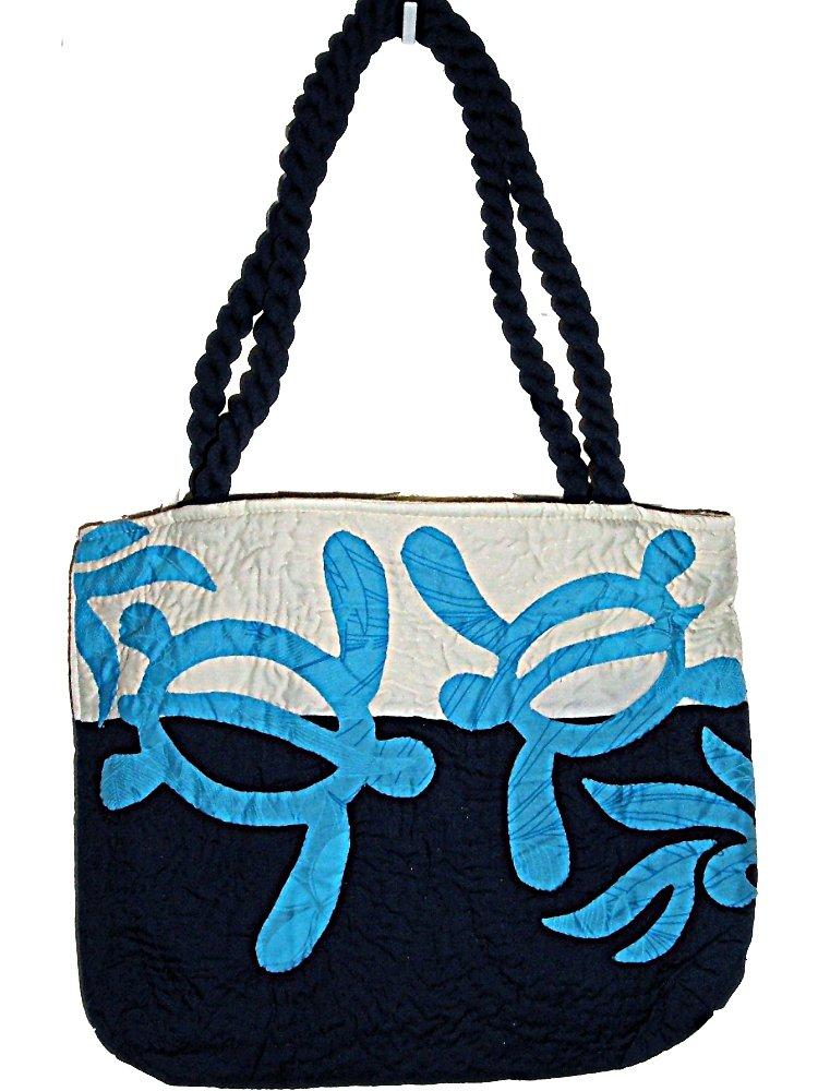 HAWAIIAN HONU TURTLE QUILTED PUALANI BAG PURSE -BLUE