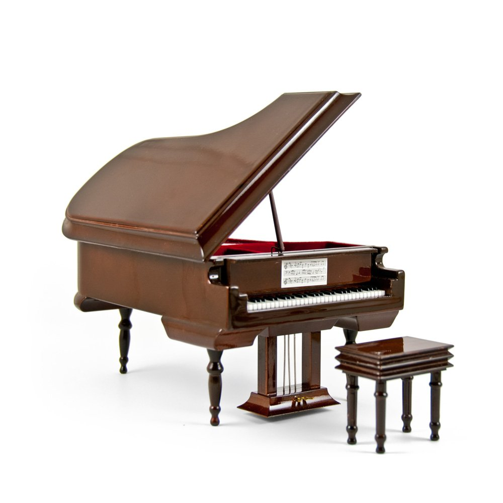Sophisticated 30 Note Miniature MusicalグラマーハイグロスクリアコートエアゾールブラウンGrand Piano with Bench 104. Scarborough Fair MBA-MS-MPY02-BRN-grandpiano-30NOTE 104. Scarborough Fair  B0784ZBQT8