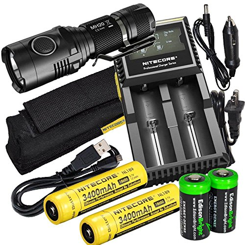 Nitecore MH20 CREE LED 1000 Lumen USB Rechargeable Flashlight, 2 X Nitecore NL189 18650 3400mAh rechargeable Li-ion batteries, Nitecore D2 digital charger and 2 X EdisonBright CR123 lithium Batteries by EdisonBright