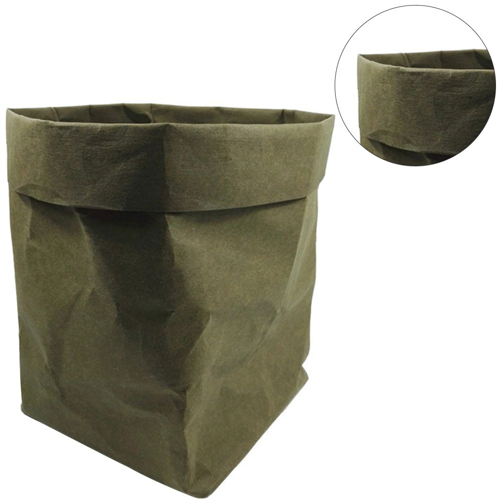 OUNONA Washable Kraft Paper Container Decorative Reusable Paper Bag Organizer Flowerpot Cover Toy for Decoration and Storage Size S(Black)