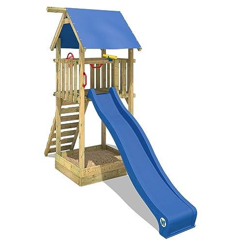 WICKEY Tour d'escalade Smart Tower Aire de jeux en bois avec toboggan bleu