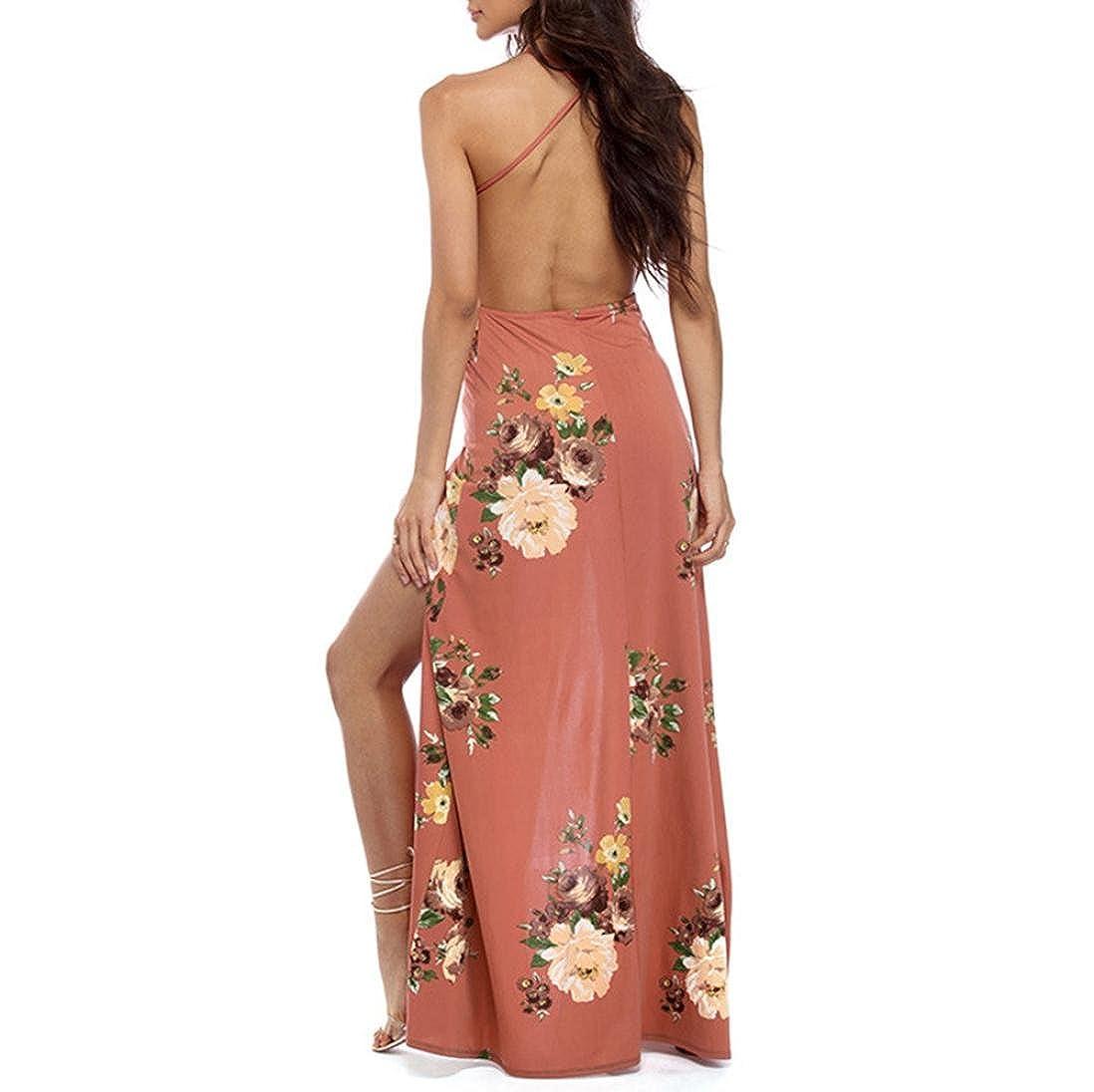 feiXIANG Faldas, Chaleco sin mangas de verano estampado sexy playa de doble costura vestido largo halter Vestido de arnés de corte bajo escote en V con ...