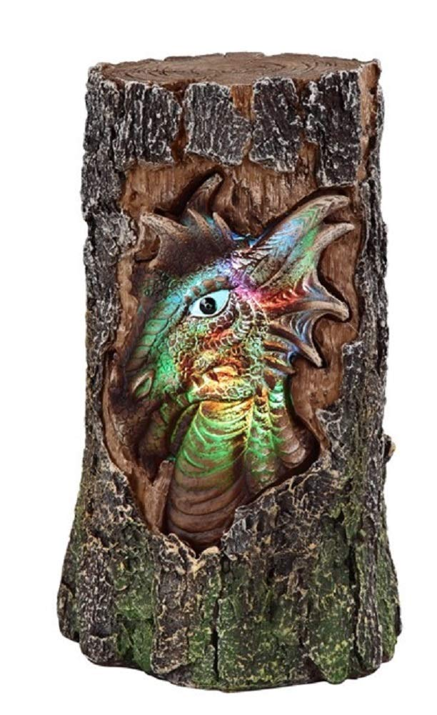 GSC Dragon Head in Tree Stump Colorful Lit Up by Changing led Light 74003