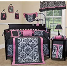 Custom Baby Bedding - Rose Damask 15 PCS Crib Bedding