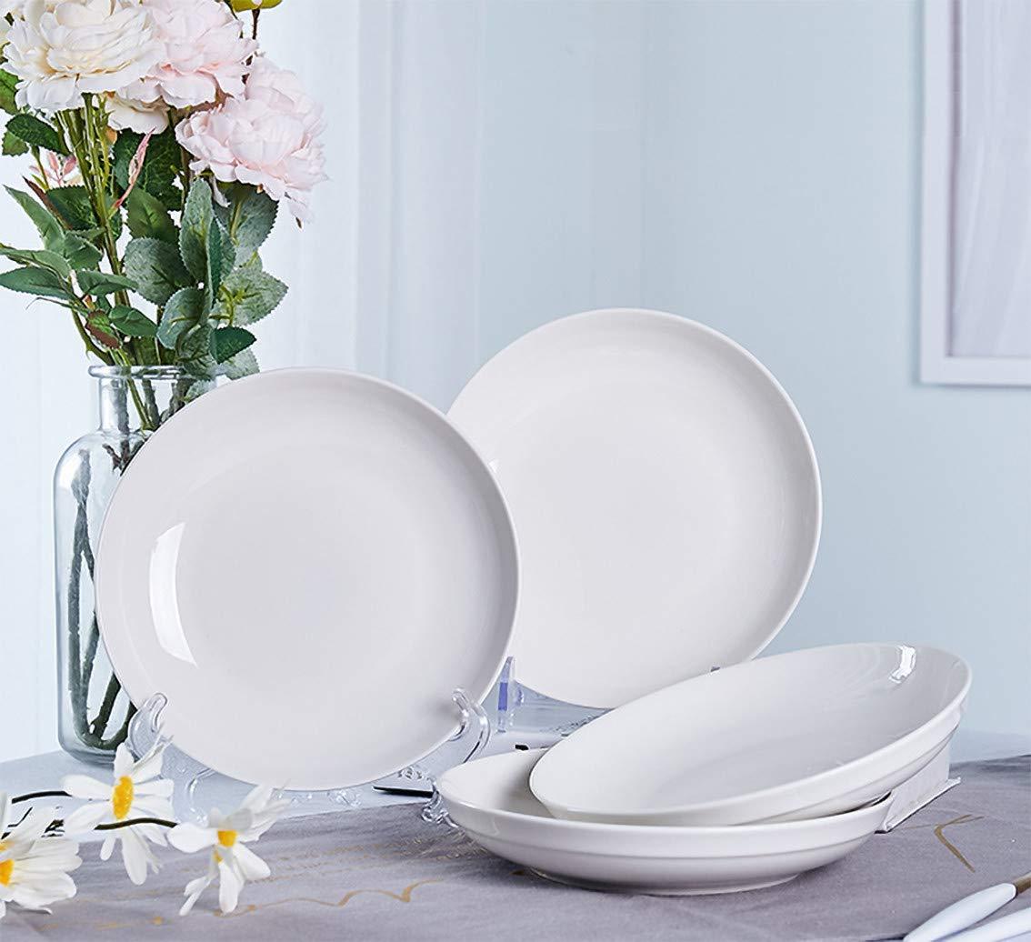 AnBnCn Porcelain Pasta//Salad Bowls White 27 Ounce Set of 6 Large Serving Bowl Set