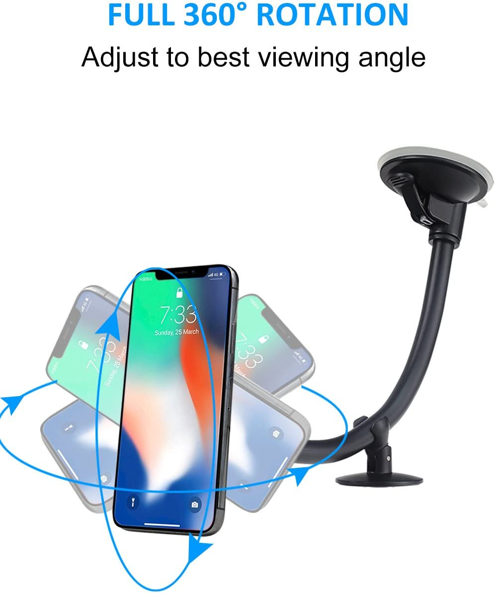 EXSHOW Magnetic Windshield Car Cell Phone Holder 8.5 inch Aluminum Long Arm Strong Magnets Window Suction Cup Mount for iPhone LG and Other All Cell Phone Samsung