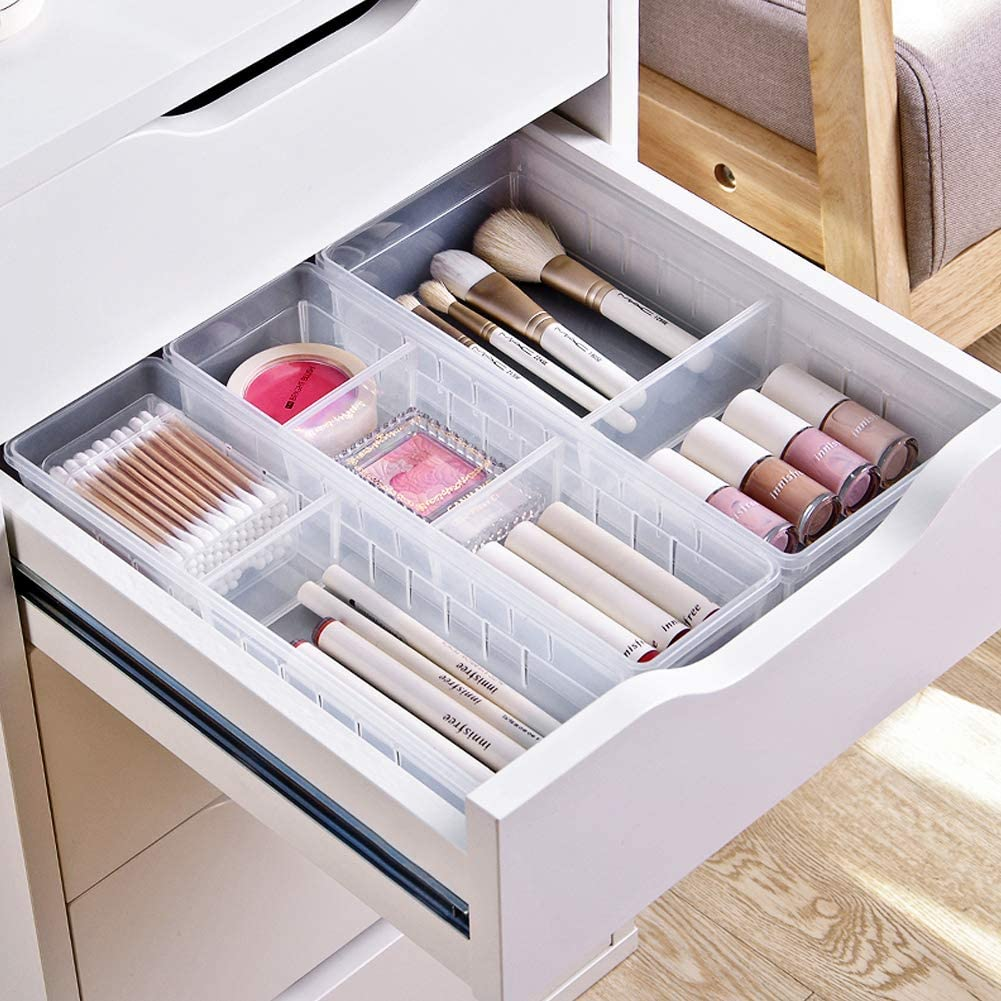 MineSign 4 Pcs Desk Drawer Organizer Plastic Makeup Drawer Dividers Cosmetic Flatware Organizer for Office Room Kitchen