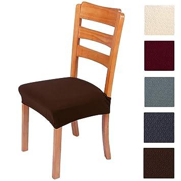 Fundas para sillas Pack de 2 Fundas sillas Comedor Fundas elásticas, Fundas de Asiento para Silla, Diseño Jacquard Cubiertas de la sillas,Extraíbles y ...
