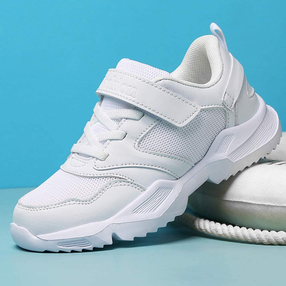 LakeRom White Sneakers for Girls School Uniform Boys Sneakers Athletic Running Shoes Tennis Shoes
