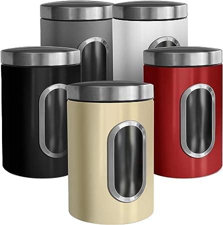 casa pura Trendige Vorratsdose Scatola zur Aufbewahrung von Mehl Zucker Müsli Kaffee Tee | Metalldose mit luftdichtem Deckel | Großes Sichtfenster |