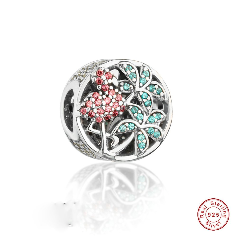 MOCCI 2017 Summer Collection Tropical Flamingo Charm Beads DIY Fits for Pandora Bracelets Authentic 925 Sterling Silver Jewelry MC6002