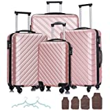 Apelila 4 Piece Hardshell Luggage Sets,Travel Suitcase,Carry On Luggage with Spinner Wheels Free Cover&Hanger Inside (Rose Go