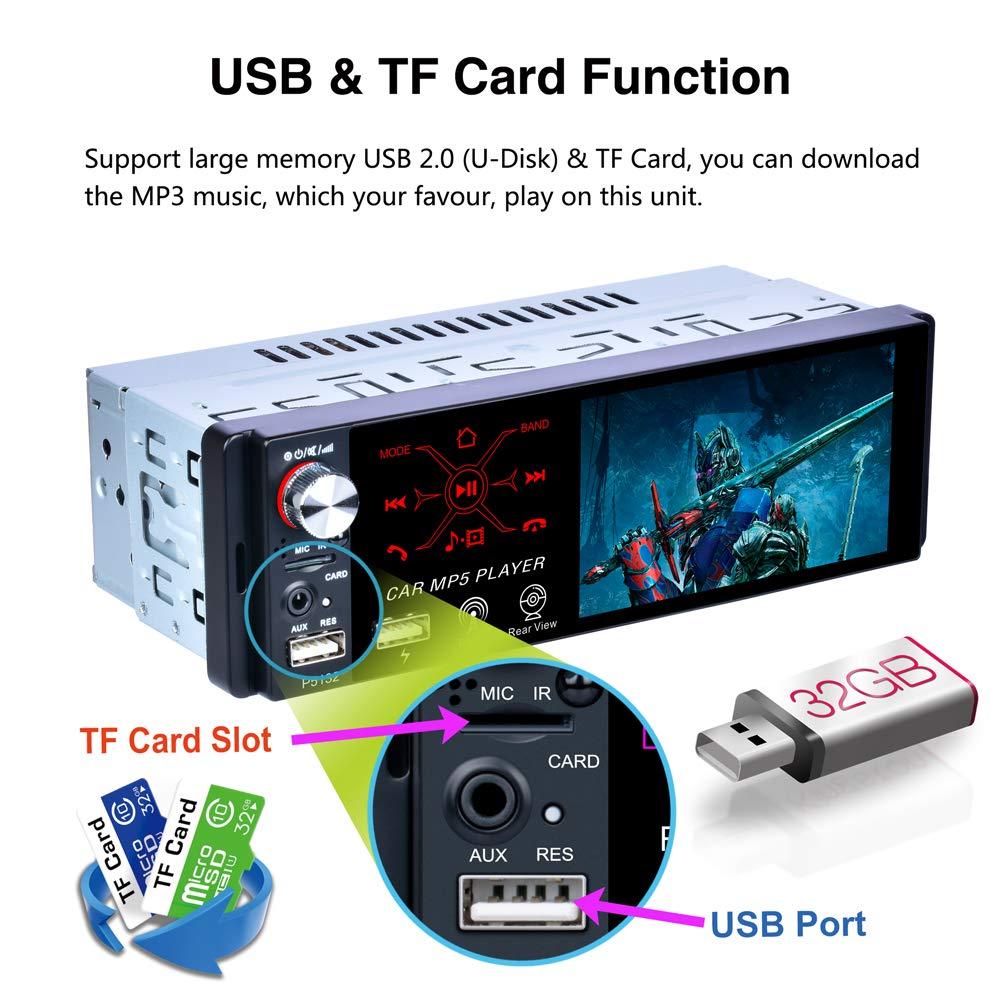 micr/ófono C/ámara de Respaldo Hoidokly Radio del Coche 1 DIN Reproductor MP5 4.1 Pantalla t/áctil para autom/óvil,Est/éreo FM//Am//RDS Radio con Doble Puerto USB//AUX-in//SD Puerto Control del Volante