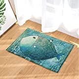 a huge whale in the deep blue ocean Right angle bathroom mat Gothic door mat children 40X60CM