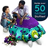 Stuffums Bean Bag Chair and Stuffed Animal Storage – 3-foot Turquoise Triceratops Dinosaur Pouf with Breathable Mesh Bottom, Holds Over 50 Plushies! Great for Bedrooms, Playrooms, & Dorms