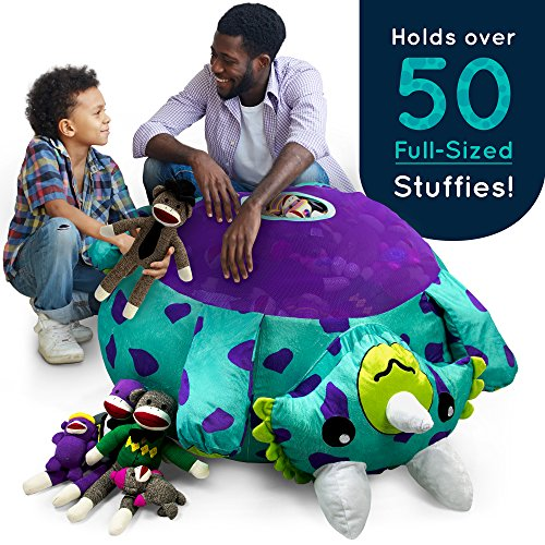 Stuffums Bean Bag Chair and Stuffed Animal Storage – 3-foot Turquoise Triceratops Dinosaur Pouf with Breathable Mesh Bottom, Holds Over 50 Plushies! Great for Bedrooms, Playrooms, & Dorms by Stuffums