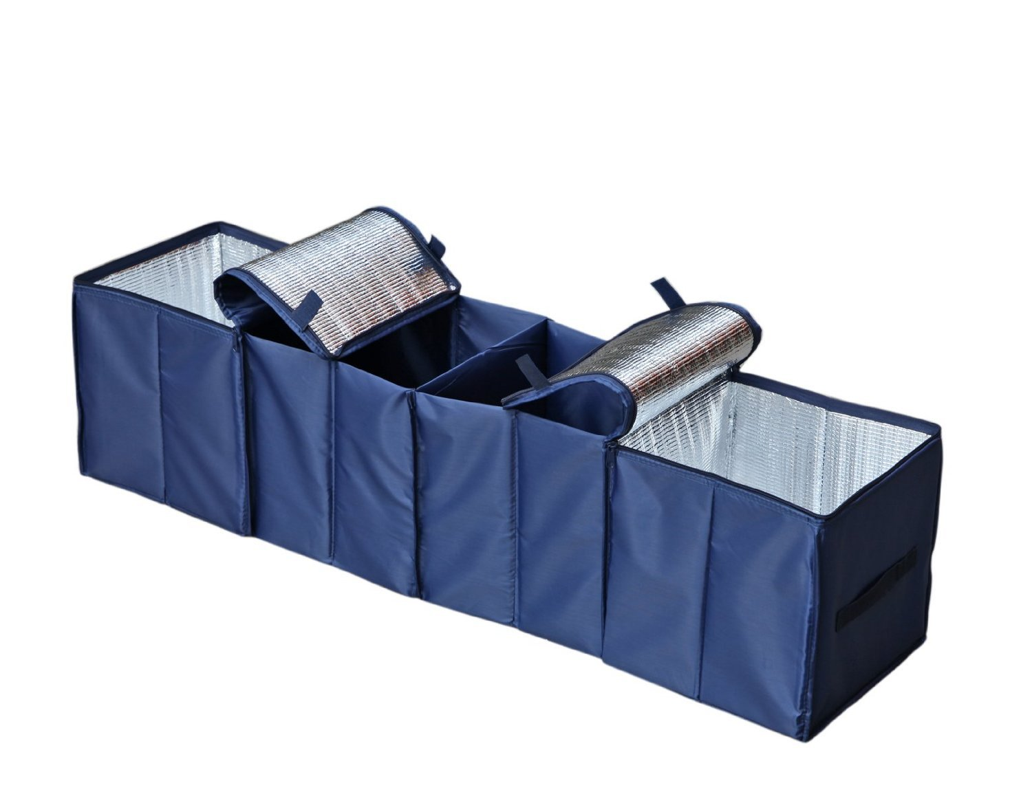 Autoark Foldable Multi Compartment Fabric Car Truck Van SUV Storage Basket Trunk Organizer and Cooler Set,Navy Blue,AK-009 FBA/_AK-009