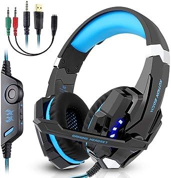 LESHP Gaming Headset Professional Auriculares para juegos Stereo PS4 Xbox One con micrófono 3.5mm Jack LED Light de bajo ruido Compatible con PS4 PC Laptop y Smartphone(Azul): Amazon.es: Videojuegos