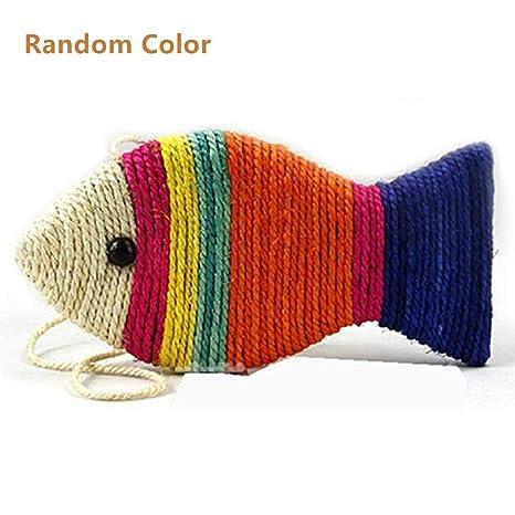 Juguete para Gatos en Forma de pez, Cuerda de sisal para ...