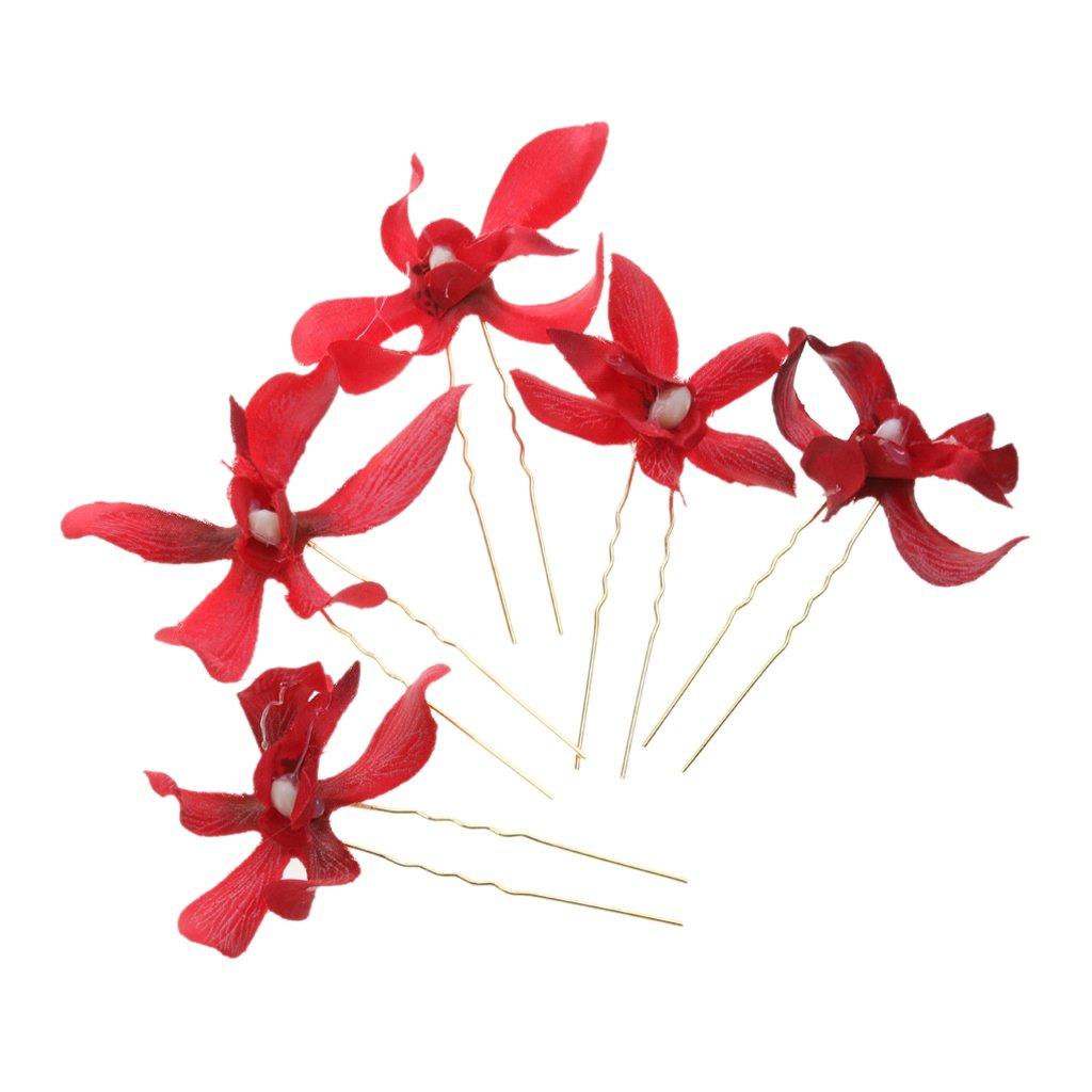 MagiDeal 5Pcs Elegant Wedding Flower Hairpins Wreath Bridal Hair Sticks Hair Accessories Bridesmaids